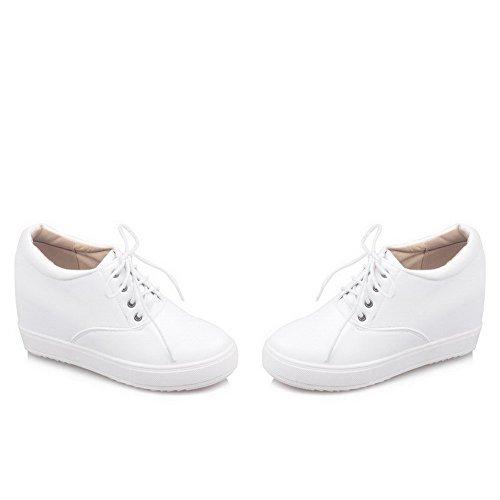 VogueZone009 Damen Pu Leder Hoher Absatz Rund Zehe Rein Schnüren Pumps Schuhe Weiß