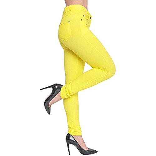 Damen Plus Size Stretch Farbige Denim Blue Leggings Hosen Jeggings Gelb