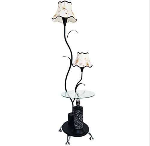 ZHLIANG Lampadaire étagères Nordic Floor lumière Ombre Moderne/avec des étagères en Verre/métal décoration Stands Lampe pour Salon Chambre à Coucher/Noir Blanc/dimmable,Black