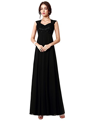 Clearbridal Women's Long Chiffon Prom Evening Party Dress A-Line Lace Bridesmaid Gowns Black SD190 UK6