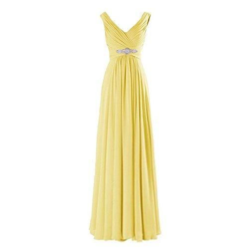 Damen V-Ausschnitt Chiffon Abendkleider Brautjungfernkleid Festkleid A-Linie Lang Maxikleid...