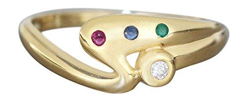 Goldring 585 mit Brillant Rubin Saphir Smaragd Ring Gold Damenring 14 Kt. Hobra-Gold