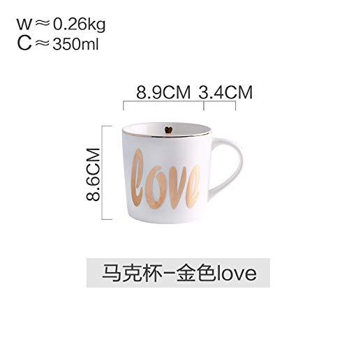 Winpavo Mugs Tasses Assiette De Vaisselle De Ménage en Céramique De Style Nordique Assiette en Céramique Bol De Riz Mug Bol, Tasse - Golden Love