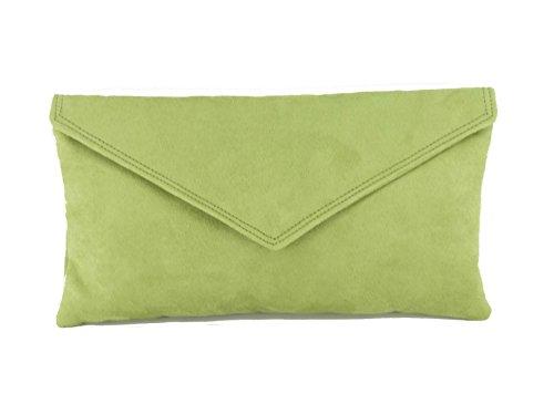 LONI Neat Umschlag Faux Wildleder Clutch Bag/Schultertasche in Olive (Olive Farbe, Kleider)