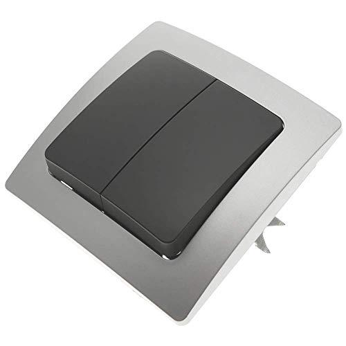 BeMatik - Conmutador Doble empotrable con Marco 80x80mm Serie Lille de Color...