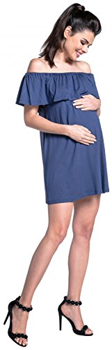 Zeta Ville - Stillen Zweilagiges Kleid Off-Schultern Schwangere - Damen - 624c Blau Grau