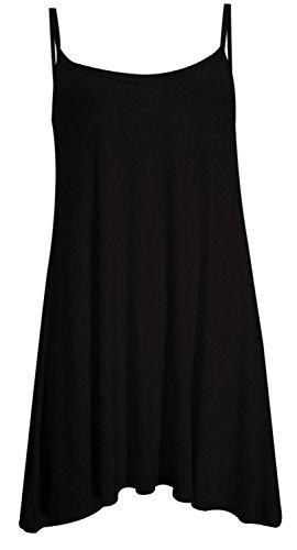 Nouveau Femmes Plus Size Hanky Cami swing Robe débardeur 36-50 Noir