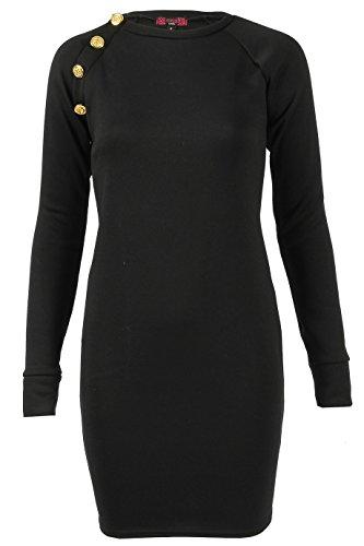 Designer Boutiquen (Damen Knöpfen Fleece Bodycon Kleid EUR Größe 34-44 (Groß (EUR 42-44), Schwarz))