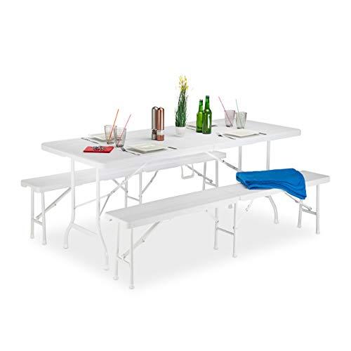 Relaxdays Bierzeltgarnitur Holzoptik, 3er Set, Bierbänke & Klapptisch, Griff, Maserung, wetterfest, Kunststoff, weiß