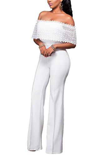 Brinny Sexy Bustier Une épaule Femme Combinaison Pantalon Jumpsuits Bodycon zipper Lâche Casual Rompers Droit Jambes Pants 4 tailles: S-XL Blanc