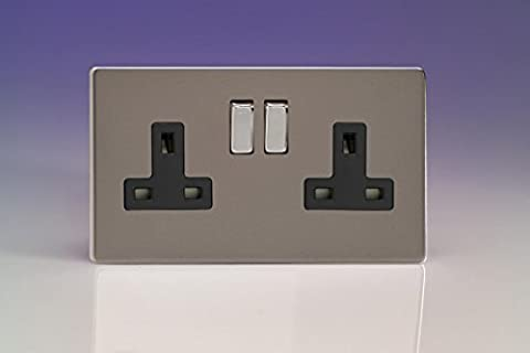 Varilight 2-Gang 13A Double Pole Switched Plug Socket with Metal