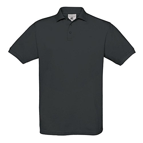 B&C Collection PU409 Mens Short Sleeve Safran Polo Shirt - Dark Grey - Medium (Collection Grey Medium)