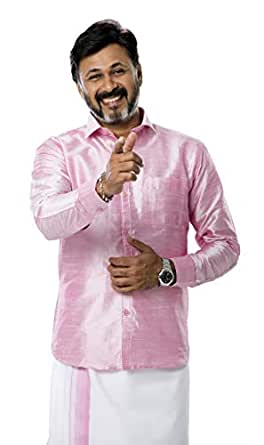 RIRO Men's Plain Silk Cotton Regular Fit Formal/Traditional/Ceremony/Casual/Business/Plain Full Sleeve Shirts (Focus Shirt Colour) Available Size of 36/38 / 40/42 / 44