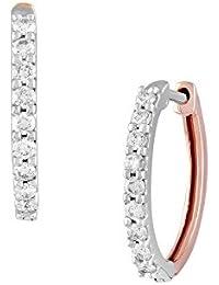 TBZ The Original 18KT 2 Colour Gold and Diamond Stud Earrings for Women