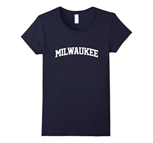 womens-milwaukee-athletic-curved-text-t-shirt-large-navy