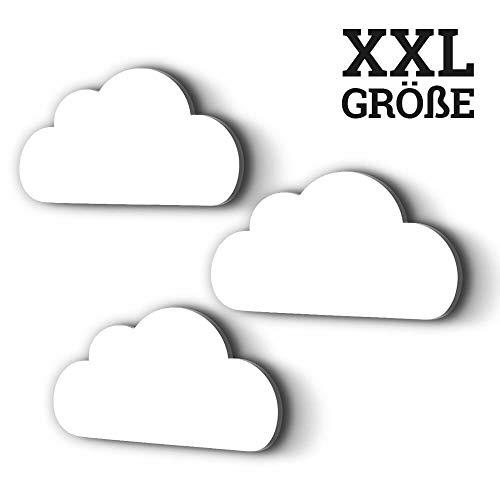 3er Set XXL Wolken mit 3D-Effekt 30x15 cm als Kinderzimmer Deko Wandtattoo Kinderzimmer 5mm Kunststoff (weiß)