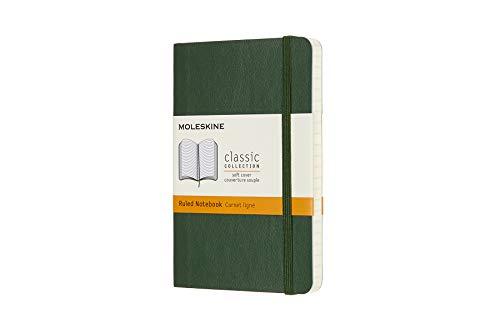 Moleskine 8058647629148 - Taccuino collezione classica Pocket/A6, a righe, copertina morbida, colore: Verde mirtillo