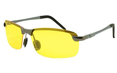 LZXC Herren Polarisierte Sonnenbrille Einstellbar AL-MG Metallrahmen Night Vision Sonnenbrillen Fahren Gelb Linse