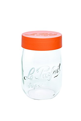 Le Parfait 6585017.0 Bocal à Vis de Bouchon Verre Transparent/Orange 11,0 x 11,0 x 28,0 cm 3 L