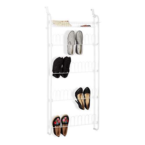 Relaxdays Tür-Schuhregal, 12 Paar, Korb, zum Einhängen, Schuhablagen auf 4 Ebenen, Eisen, HBT: 144 x 60 x 19 cm, weiß