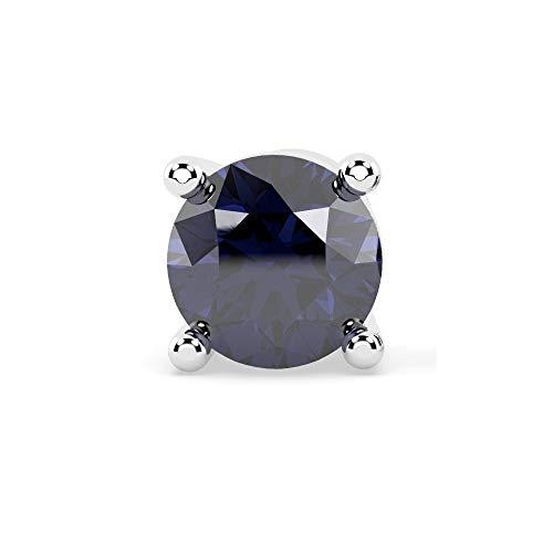 Orecchino singolo da uomo con zaffiro certificato 100% naturale, taglio diamante, personalizzabile e Oro bianco, cod. E1234.3