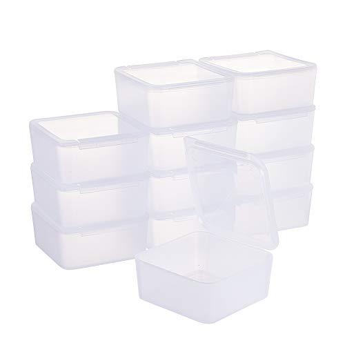 BENECREAT 12 Pack contenitori Trasparente stoccaggio di plastica con microsfere a Forma di Quadrato con coperchi per Articoli, Pillole, Erbe, Perlina