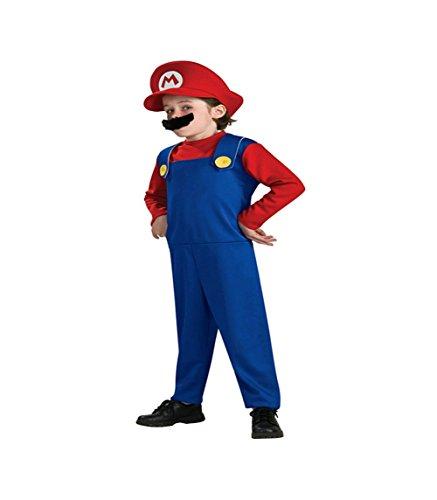 Mario Zubehör Kart Kostüm - Unbekannt DS (GR. 92-128) KOSTÜM HELLOWEEN FASCHING *MARIO - ROT BLAU* 3 TEILE- OVERALL BART MÜTZE (116)