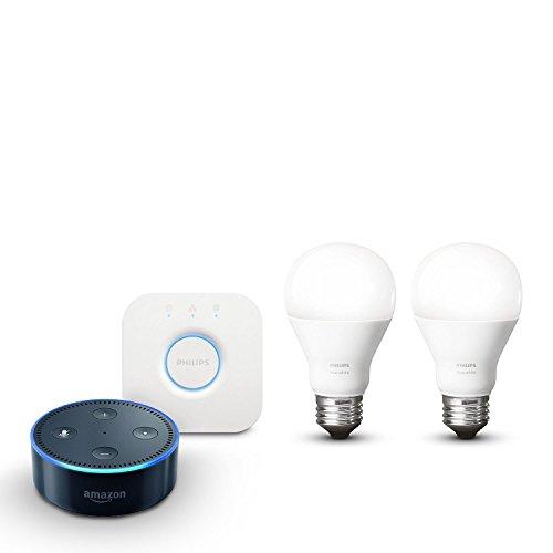 Amazon Echo Dot (2. Gen.), schwarz inkl. Philips Hue White E27 Starter Set mit Bridge