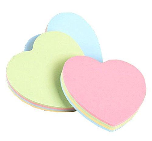 vommpe Sticky Notes für Heimwerker Büro Papier bunt Herz und Blume Form Cute Take Note Tägliche sortiert Farben 76mm * 76mm 7.6 * 7.6cm herz