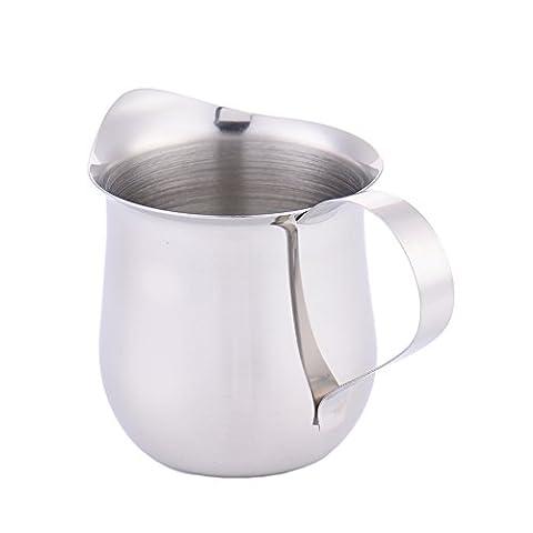 Edelstahl-Milchkännchen, Kanne Milch aufschäumen-Krug für Lattes, Schokolade, Kaffee-60 ml (2,1 Unzen)