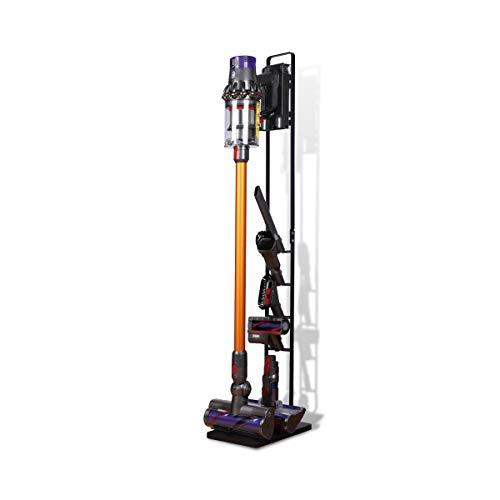 LANMU Bodenständer Ständer Standfuß Organizer mit Halterung für Dyson V10 V8 V7 V6 kabelloser Staubsauger Ersatzteile (Schwarz, keine Löcher bohren)