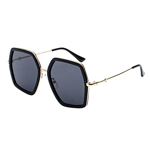 Lazzboy Herren- Und Damen-sonnenbrille Aus Metall Mit Großem Gestell Unisex Sonnenbrille Retro Stark Brillen Quadratische Metallrahmen Für Männer Frauen Klassiker Piloten(C)