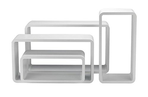 King home m1106012/b set 4 pezzi mensola rettangolare stondata, bianco, 50x16x30h 45x16x25h 40x16x20h 35x16x15h