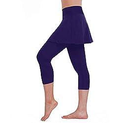 Yowablo Leggings Frauen Casual Rock Tennis Hosen Sport Fitness Cropped Culottes (XL,2Lila)