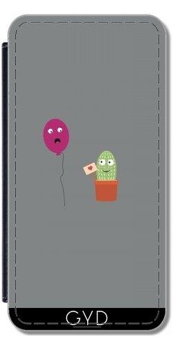 tArtists Leder Flip Case Tasche Hülle für Samsung Galaxy S9 (SM-G960) - Kaktus In Der Liebe Mit Ballon by Ilovecotton ()