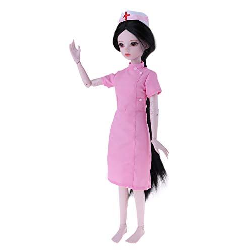 Körper Anzug Nackten Kostüm - Perfeclan 1/3 Weibliche Modepupp Normaler Hautton Nacktes Körper mit Krankenschwester Uniform Anzug Cosplay Kostüm - Pink