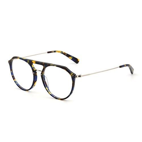 JIM HALO RX Brille Rahmen Leicht Gewichts Rund Rxable Gläser Optischer Rahmen Damen Herren(Schildkröten-Gelb/Klar)