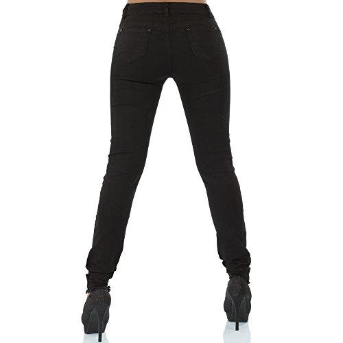 malucas Damen Jeans Hose Röhrenjeans Normaler Bund Röhrenhose Slim Fit Skinny Stretch Schwarz