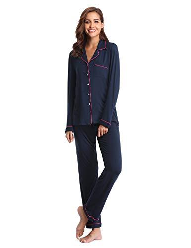 Lusofie Pyjama für Damen Langarm Schlafanzug mit Knopfleiste Nachtwäsche PJ Set (373 Navy blau, S) -