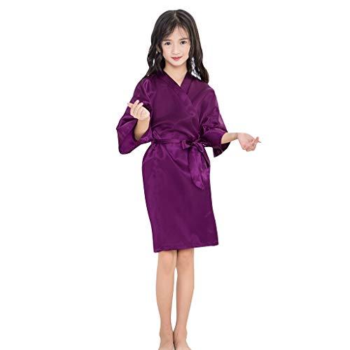Lazzgirl Kleinkind Baby Kinder mädchen solide Silk Satin Kimono Roben Bademantel nachtwäsche Kleidung(Weiß, Rosa, Lila, Schwarz, Hot Pink, Marine, Beige, Wassermelonenrot, ()