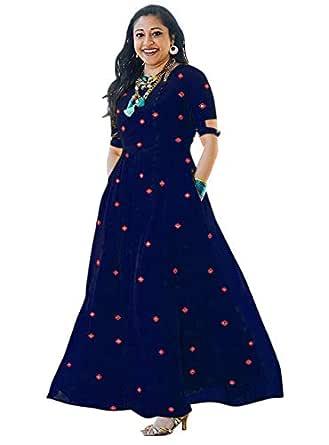Asha Print Women's Long Embroidered Rayon Kurti, Blue