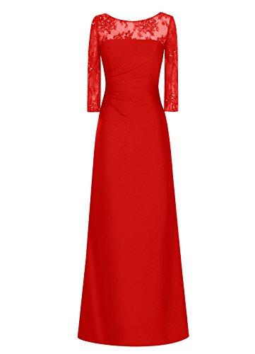 Dresstells, Robe longue de demoiselle d'honneur Robe de soirée Robe de cérémonie Tenue de mariage Rouge