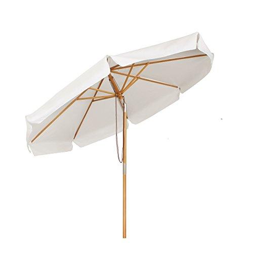 Sekey® Sonnescherm 300 cm Holz-Sonnenschirm Marktschirm Gartenschirm Terrassenschirm Creme Rund UV50+