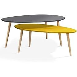 IDMarket - Lot de 2 Tables Basses gigognes laquées Gris Jaune scandinave