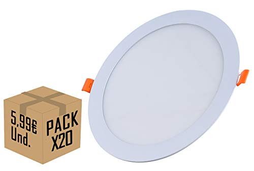 FactorLED Pack x20 Placa Slim LED Circular 20w 120º 2000Lm, Downlight LED...