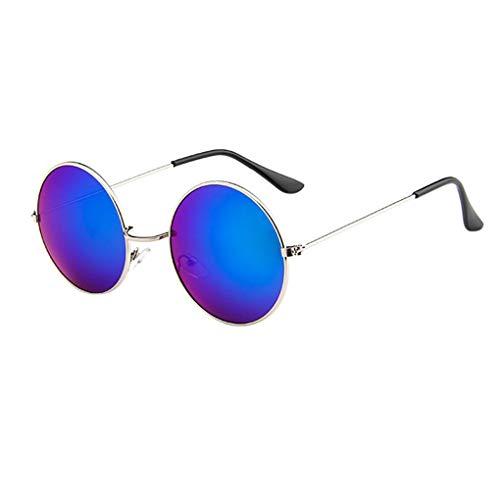 Dorical Sonnenbrillen Damen Sommer Unisex Vintage Driving Round Frame Sunglasses Eyewear,Metallrahmen Polarisiert Retro Brille, Shopping Gläser Männer Frauen im Steampunk Stil Ausverkauf (Hochzeit Sonnenbrille Personalisierte)
