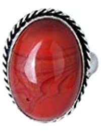Waama Jewels Traditional & Ethnic Silver Plated Finger Ring Agate Stone For Women & Girls (Adjustable) - B0785GLXJS