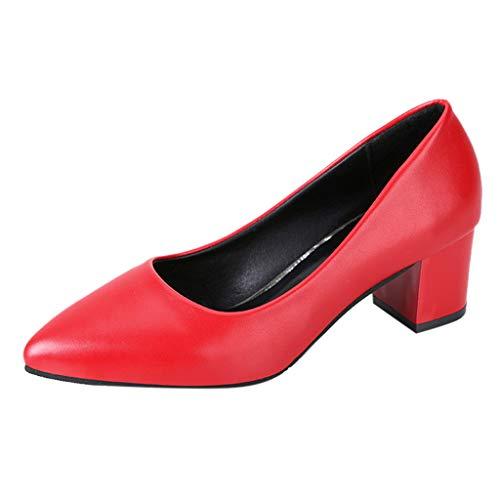 Lilicat Scarpe col Tacco Donna High Heels Sexy Decolte Alto Tacchi A Spillo Punta Chiusa con Heel da Eleganti Chiuse Classico Scarpe Casual da Donna con Zeppa(Rosso,35EU)