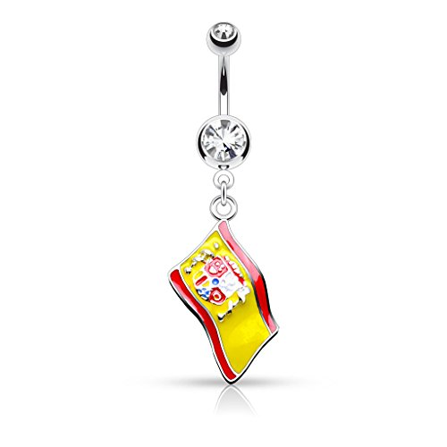 punkjewelry Piercing de Ombligo BANDERAS DE PAISES 316l acero quirúrgico - España