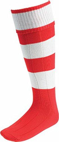 OSG Euro Socken Fußball Hockey Running Trainer Spannreifen Knie Hohe Gemustert Socke Medium - Scarlet/White Hoops -